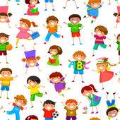 Cartoon kids pattern — Stock Vector