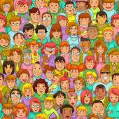 Patrón de dibujos animados personas — Vector de stock