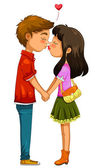 Casal beijando — Vetor de Stock