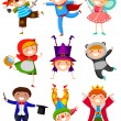 Stock Vector: Kids wearing costumes
