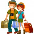 Stock Vector: Travelling couple