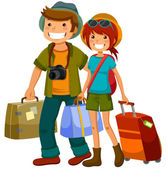 Travelling couple — Stock Vector
