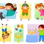 Kids on Hanukkah — Stock Vector