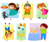 Kids on Hanukkah — Stock Vector