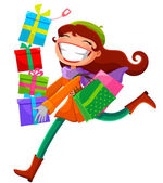Woman with presents — Stock Vector
