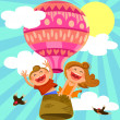 Kids in hot air balloon — Stock Vector