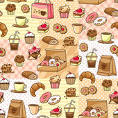 Coffee and cakes pattern — Stock Vector