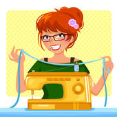 Sewing girl — Stock Vector