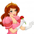 Princess holding a rose — Stock Vector #45963281