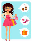 Girl at the mall — Vector de stock
