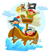 Happy pirates — Stock Vector