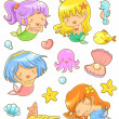 Cute mermaids collection — Stock Vector #46938681