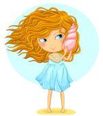 Girl with a seashell — Stock Vector