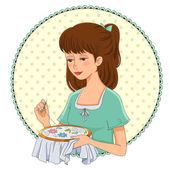 Embroidering girl — Stock Vector