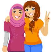 Muslim and Caucasian friends — Stock Vector