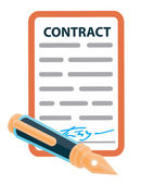 Signed contract with a retro pen — Vector de stock
