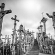 Sky and hill of crosses near Siauliai, Lithuania. - Stock Photo