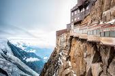 Uitzicht op de alpen van de berg aiguille du midi. — Stockfoto
