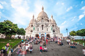 Cathedral with tourists in France, Paris, Europe. — Stock Photo