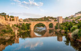 Panorama of famous Toledo bridge in Spain, Europe. — Foto de Stock