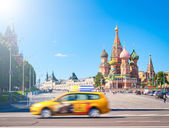 Red square with kremlin and St. Basil Cathedral, Moscow, Russia. — Foto de Stock