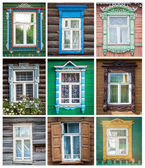 Set of windows of russian houses. — Foto Stock
