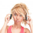 Beautiful surprised young woman with headphones. — Stock Photo #13204699