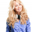 Young woman with headphones. — Stock Photo