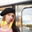 Young woman in Paris metro. — Stock Photo