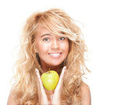 Beautiful and happy young woman with apple. — Stock Photo
