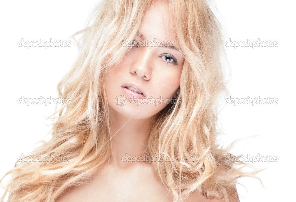 Sensual portrait of young beautiful blonde woman on white background. Sexy topless girl with curly hair looking passionate and tempting. Youth, pure natural beauty. — Stock Photo #13204668