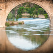 Foto Stock: Bridge reflects in river of Toledo, Spain, Europe.