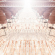 Rows of plastic chairs. - Stock Photo