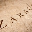Name Zaragoza written on tiles in Spain, Europe. - Stock Photo