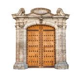 Masivní dveře izolované na bílém pozadí. — Stock fotografie