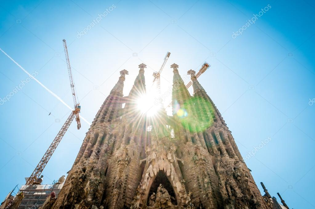 BARCELONA, SPAIN - MAY 14: construction of Sagrada Familia. In process of building since 19 century. Construction budget for 2009 was 18 million euros. May 14, 2012, Barcelona, Spain, Europe.  Stock Photo #14753759