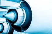 Modern plane engine turbine blades. — Stock Photo