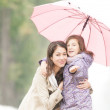 Happy mother and daughter in park in rain. — Stock Photo