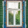 Window of old traditional russian wooden house. — Stok fotoğraf