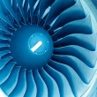Modern plane engine turbine blades. - Stock Photo