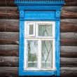 Window of old traditional russian wooden house. — 图库照片