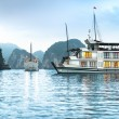 Two ships in beautiful Halong bay, Vietnam, Asia. - Stok fotoğraf