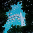 Business centre. Evening view through trees. - Stock Photo