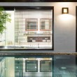 Luxury hotel room with swimming pool and palms. — ストック写真 #22456459