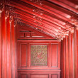 Stock Photo: Red wooden hall in Citadel of Hue, Vietnam, Asia.