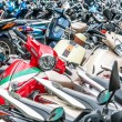Great number of motorbikes on parking zone. — Stock Photo