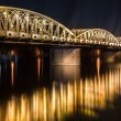 Night view of Truong Tien Bridge in Hue. - Stock Photo