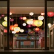 Hotel reception with lanterns in Vietnam, Asia. - Stock Photo