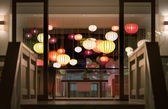 Hotel reception with lanterns in Vietnam, Asia. — Stock Photo