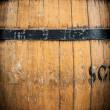 Detail of wooden barrel with metal hoops. — Stock Photo #25747807